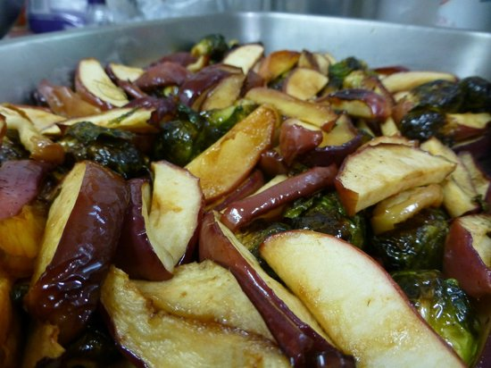 Coffee Bazaar: The famous roasted brussels sprouts & apples with sesamae oil and toasted walnuts