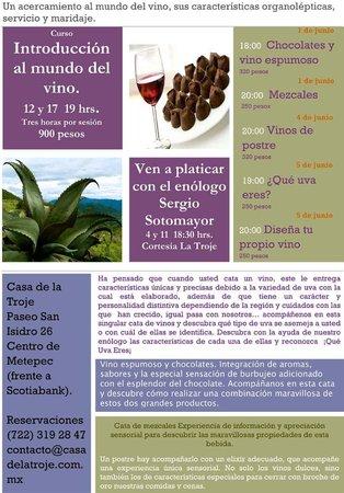 Casa de la Troje: Calendario de Catas primera quincena de junio