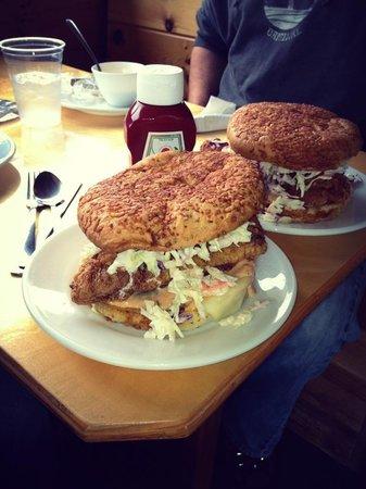 Dockside Grill: Fried haddock Rachel on asiago focaccia bread