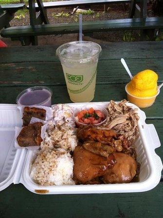 Hanalei Taro & Juice Company: King Combo:shoyu chicken, kalua pig, lomi salmon, TARO mac salad, hanalei poi, TARO mochi cake: