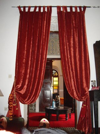 Riad Al Mamoune: View From My Bed, Plush Velvet Curtains With Beautiful  Rope Tie