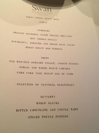 The Swan at Chapel Down: Chefs Set Menu
