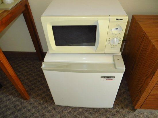 Riviera Inn: Yellowed door on microwave