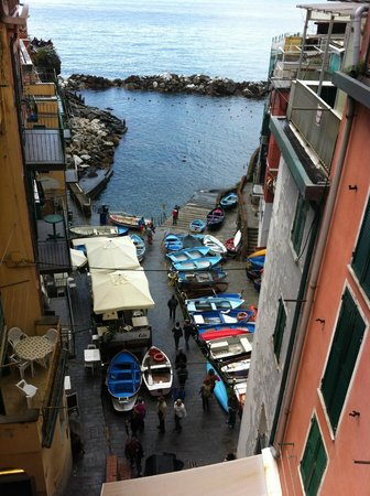 La Scogliera: view down into the marina