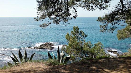 Lloret de Mar, España: Vista desde el parque de la derecha de la playa