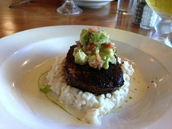 Kill Devil Grill: grilled wahoo w/avocado salsa over creamy grits