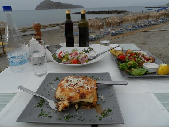 The Olive Tree: Musaka, Greek salad and grilled swordfish