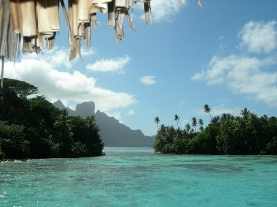 Conrad Bora Bora Nui: View from Bungalow #103's deck to the left