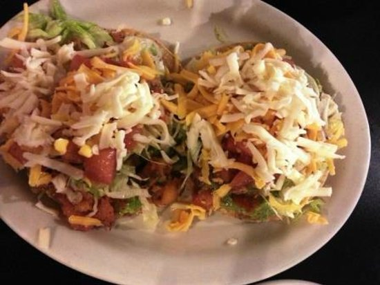 Jose's Mexican food : Tostadas with shrimp and guacamole