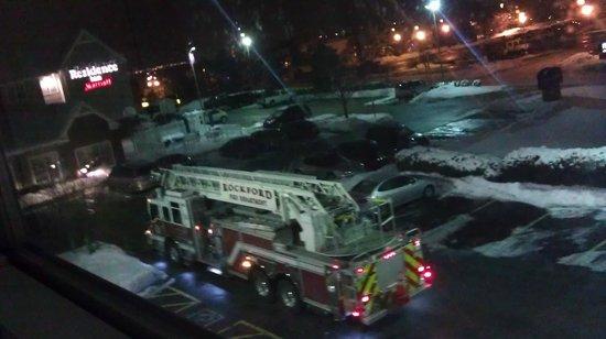 Residence Inn Rockford: firetruck and very loud fire alarm at 1:50 AM 2/10/13