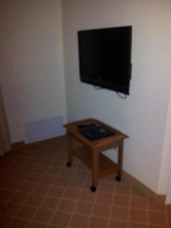 Residence Inn Branson: TV that does not move and strange cheap tv tray/entertainment center on castors.