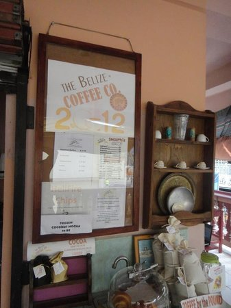 The Belize Coffee Company: Their menu