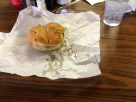 Charcoal Inn burger on hard roll