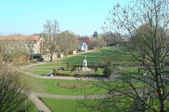 Trowbridge, UK: View towards the bandstand and war memorial