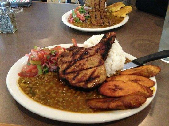 Mi Patria Ecuadorian Restaurant: Delicious pork with rice and lentils - $9.95