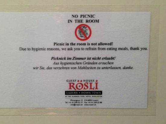 Baslertor Hotel : Policy that prohibits eating