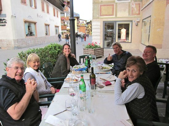 Right Path Adventures Dolomites Walking Day Tours: Our small tour group enjoying a first dinner together, Dolomites