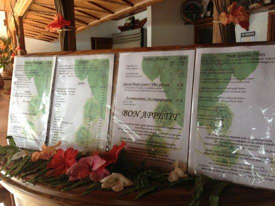 Bonbon Plume Overpriced menu - Picture of Anse Lazio, Praslin Island ...