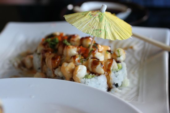 Yummy Sushi: I believe this was called the California Beach Roll (topped with scallops)