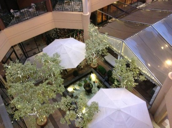 Amora Hotel Riverwalk Melbourne: View down from the balcony to courtyard. Water feature and a view to the park in the distance.