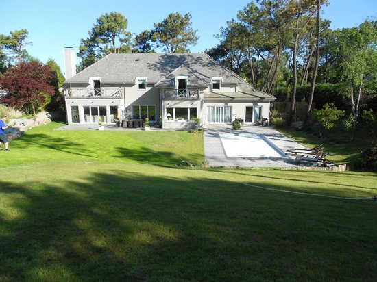 Villa Vent Couvert: The pool (covered) and rear view of house.