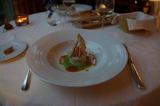 La Belle Vue : salade de crabe épicée, émulsion de petits pois