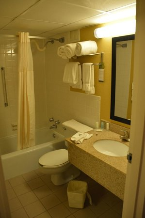 Clarion Hotel: Space and towels within reach when you are wet