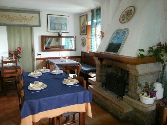 Agriturismo Punta degli schiavi: sala con camino a legna.. romantico!!