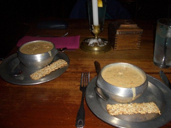 Jessop's Tavern: Seafood Chowder served in pewter bowls