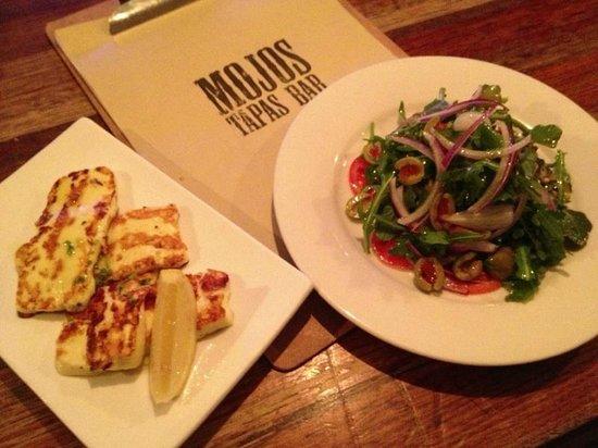 Mojo's Tapas Bar: haloumi and Spanish Salad