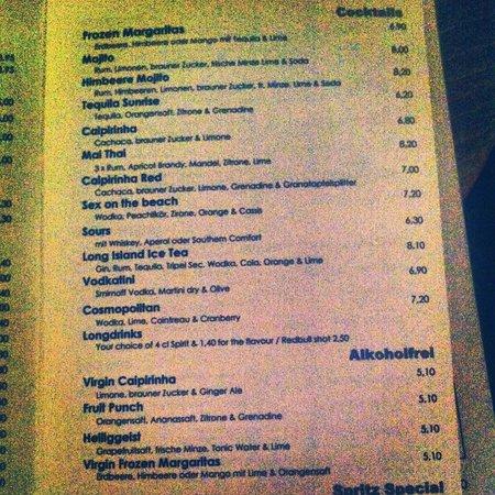 Heilig Geist: bar menu (April 2013)