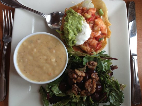 Johnny's Harborside : Tuesday Ceviche Tostada special with soup and salad.
