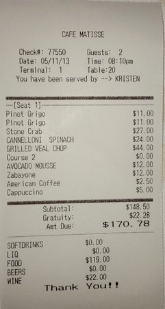 Cafe Matisse Bahamas Menu