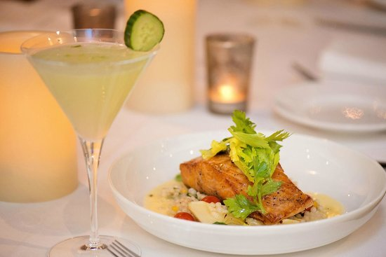 Andiamo: Cucumber martini,Salmon – Mediterranean Verdure Al Crudo, Grilled Shrimp, Ramps, Charred Lemon,