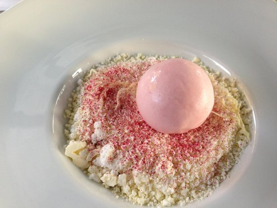 Sollerod Kro: Rhubarb dessert. When I complained about the size, the waiter came with an extra at no extra cah