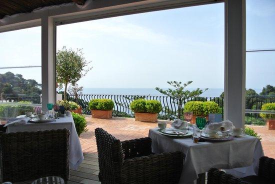 La Minerva: Breakfast on the terrace in the morning