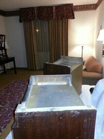 Wyndham Garden Amarillo: Bottom of furniture on bed.