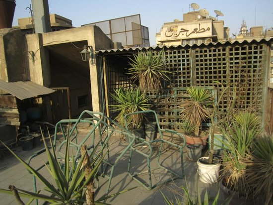 "Windsor Hotel Cairo: Rooftop ""Garden"" terrace..looks like they haven't watered in awhile!"