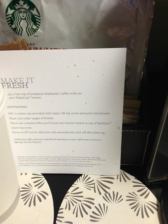 The Westin Dallas Park Central: coffee splattered welcome card
