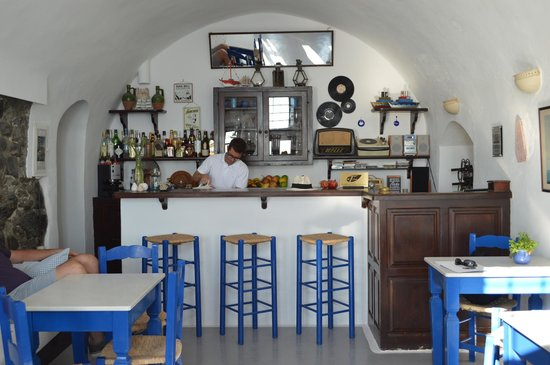 Altana Traditional Houses: Kafeneion - lobby, check in, breakfast service, and cavehouse bar