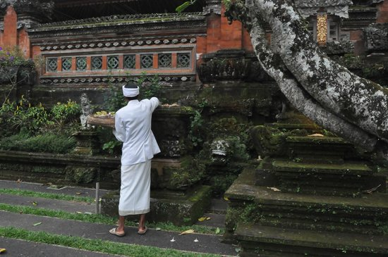 Saraswati Temple: Priest at Pura Taman Kemuda Saraswati, Ubud
