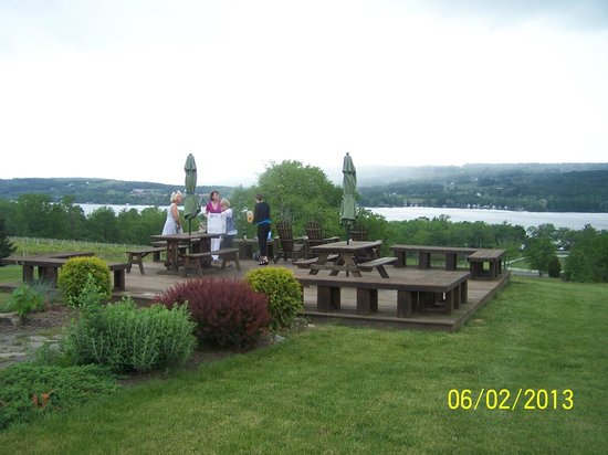 Keuka Spring Vineyards: setting up for a little wine and cheese overlooking Keuka Lake