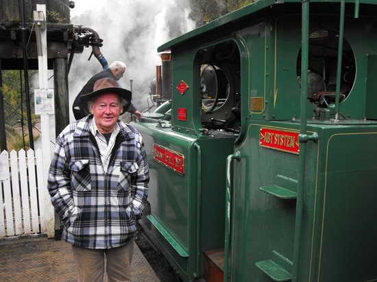West Coast Wilderness Railway: Alec Ellis with the original No.1 engine.