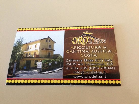 Oro d'Etna: biglietto da visita