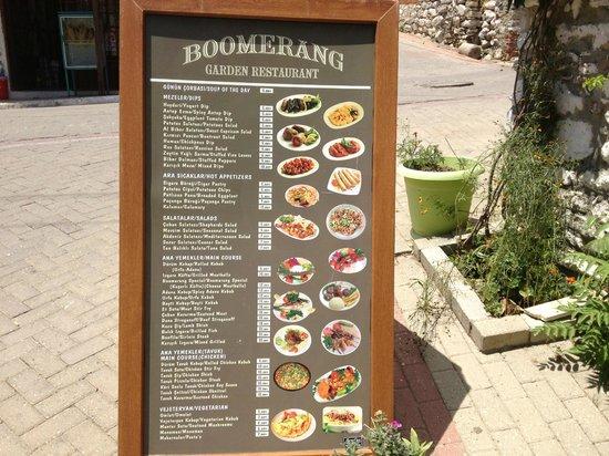 Boomerang Garden Restaurant Ephesus: Ephesus Boomerang Garden Restaurant Menu