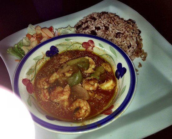 Omar's: shrimp stew, rice and bean with a side salad