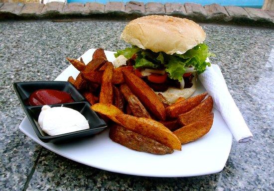 Oasis Aqua Bar & Restaurant: Cajun Chicken Burger and Homemade Wedges