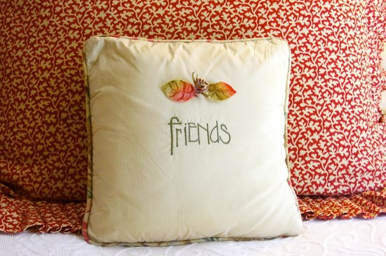 Madison Oaks Inn & Gardens: Friends pillow in room