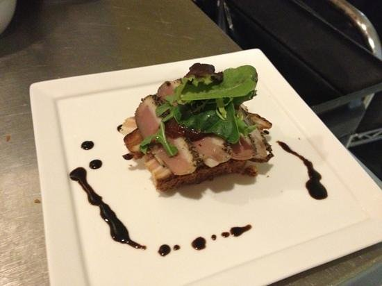Bertrand's Bistro: cured pork belly and pastrami duck