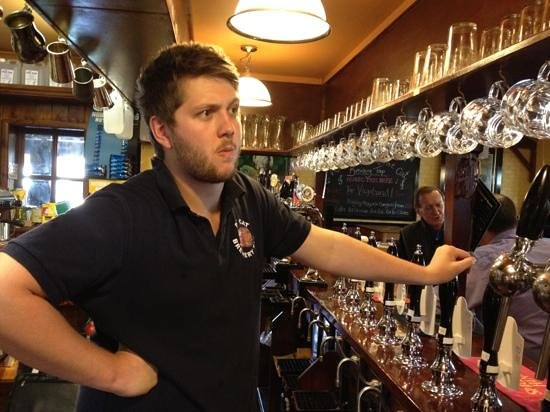 The Fat Cat Brewery Tap: Jude the Barman. Ready to serve.